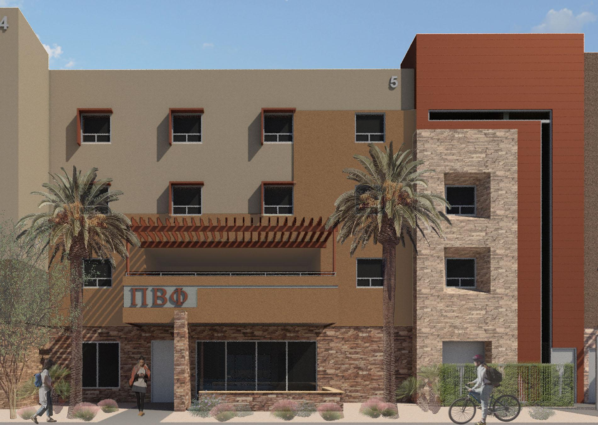 Artist rendering of a chapter facility in the Arizona State University Greek Leadership Village